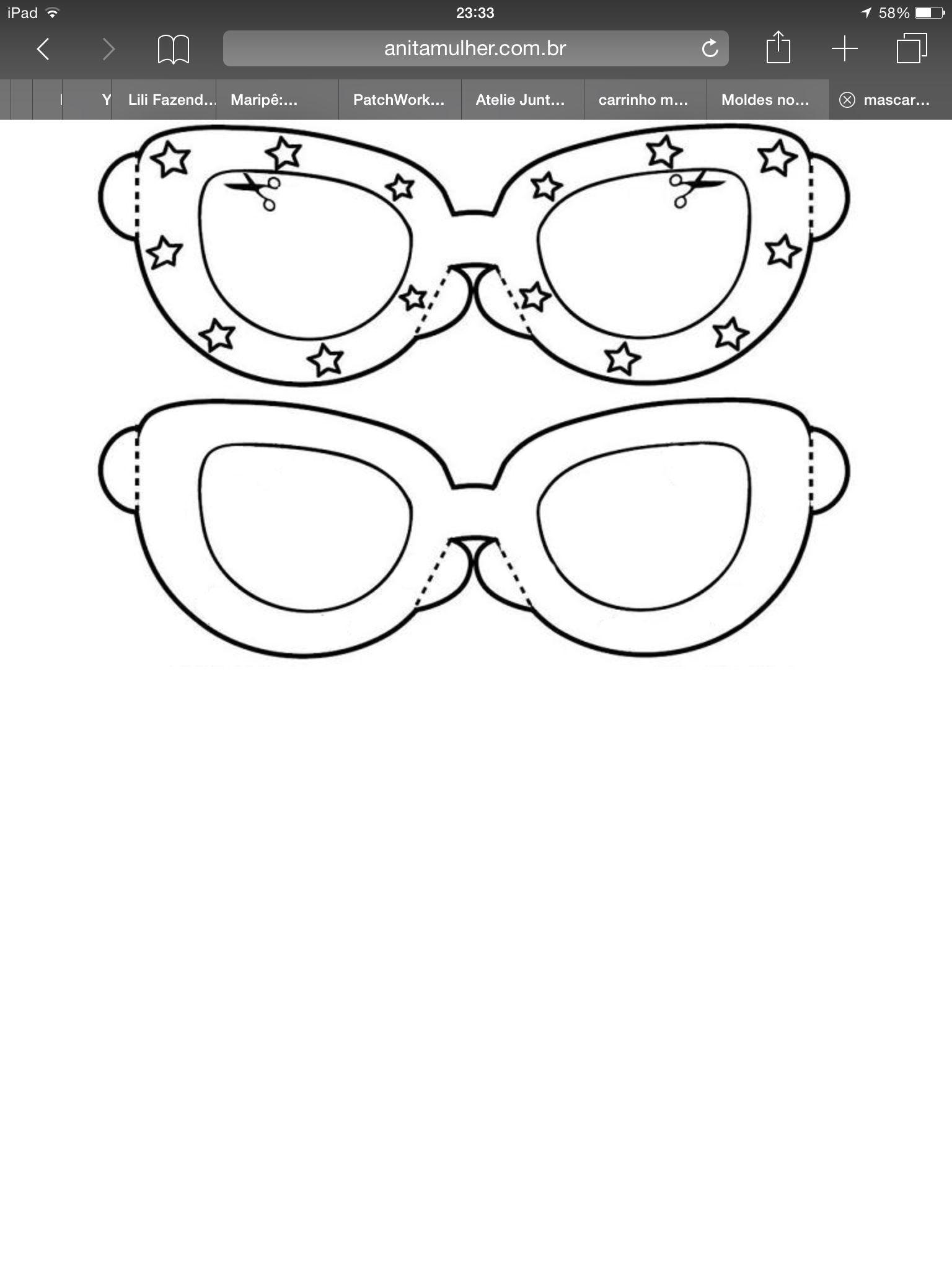 b93a116af Óculos | Riscos | Óculos desenho, Modelo de máscara, Porta oculos de ...