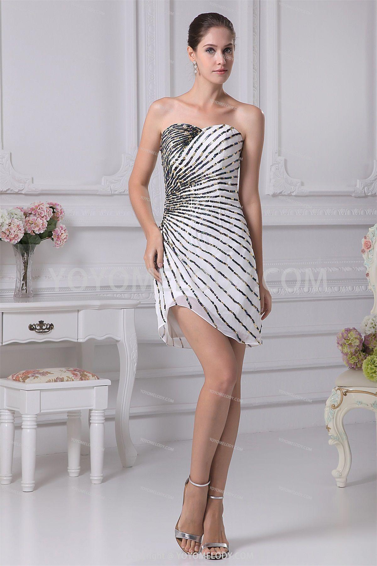 Sexy whiteblack chiffon shortmini sheathcolumn evening dress