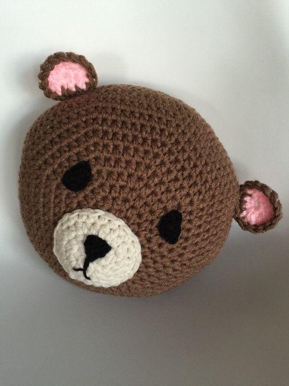 Crochet Brown Bear, handmadePillow, Crochet Bear Pillow, Brown Bear ...