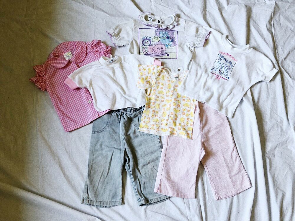 Ebay Sponsored Vtg Baby Clothes Bundle Lot 7 Piece Girls 70s 80s 90s 3 24mos Tops Pants Mix Carters Baby Girl Toddler Outfits One Piece Pajamas