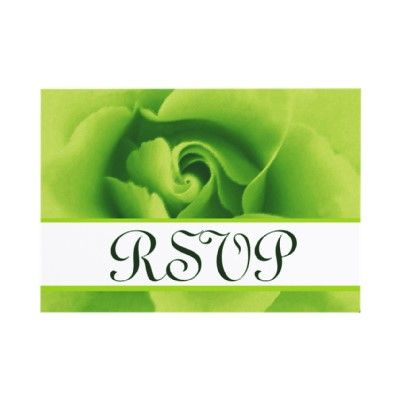 Lime Green Rose RSVP Wedding Response Card Small Personalized Announcement