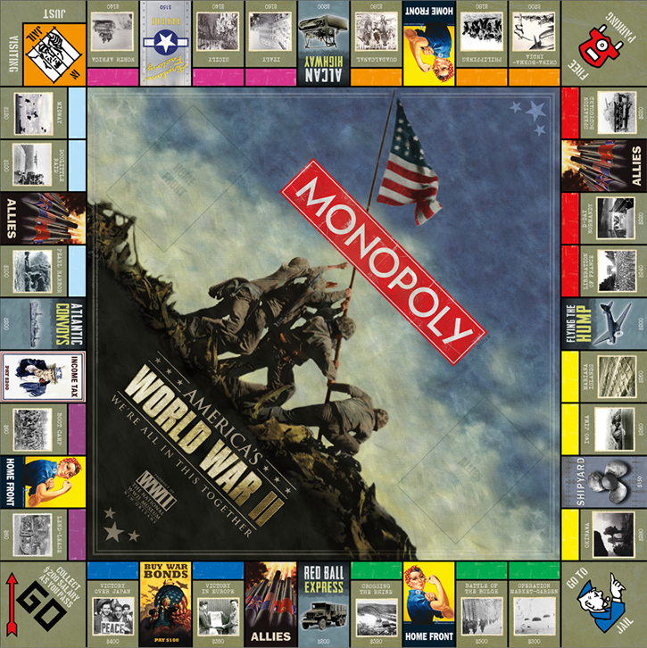 different monopoly boards America's WWII We're All In