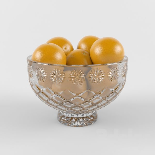Crystal bowl with oranges