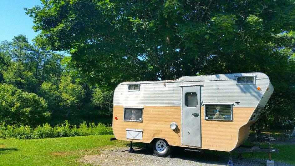 1963 ElJay. Vintage travel trailer, camper. Sweet site on the river in the white mountains.