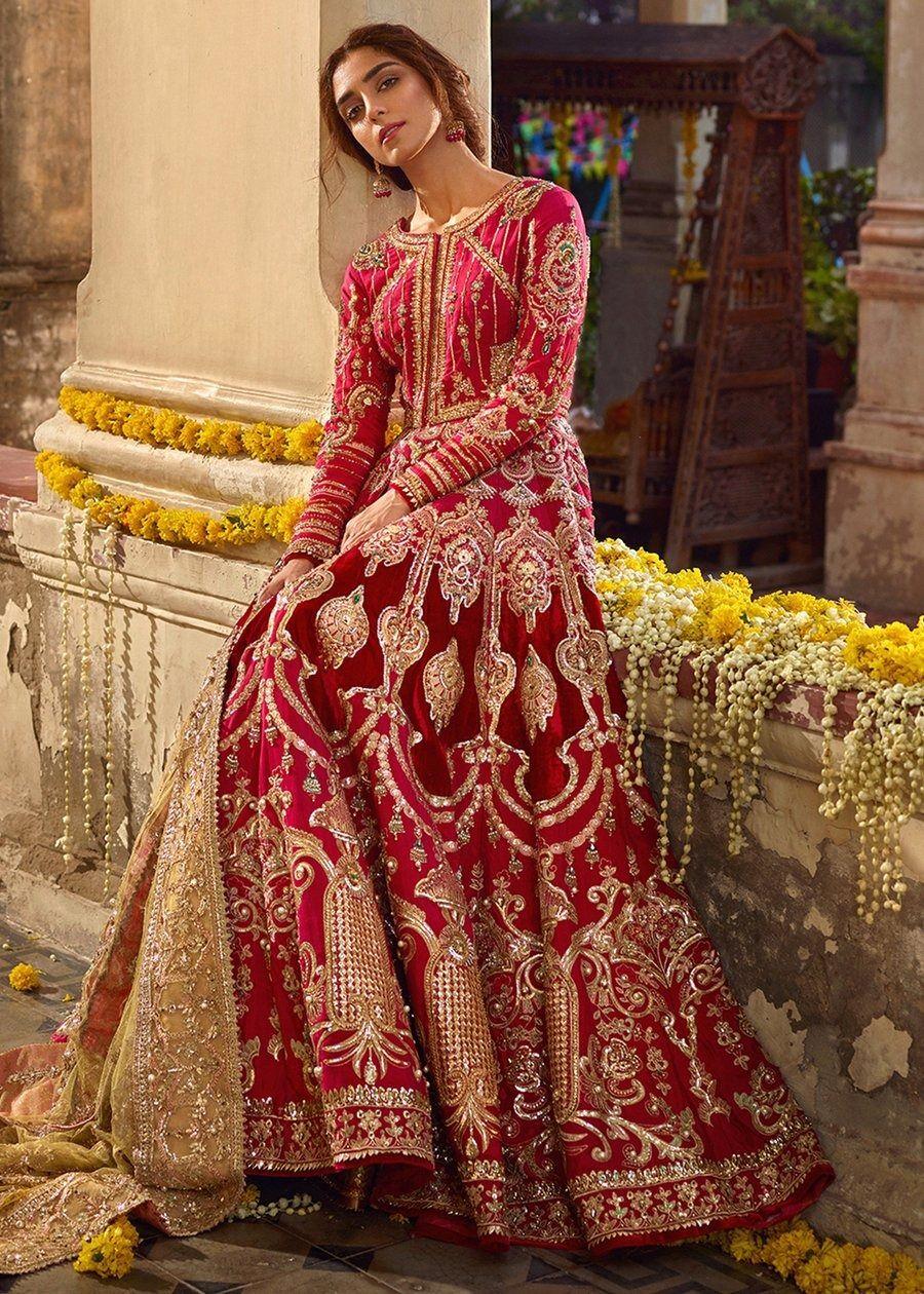 Latest pakistani bridal dress online 2020 in fuchsia pink
