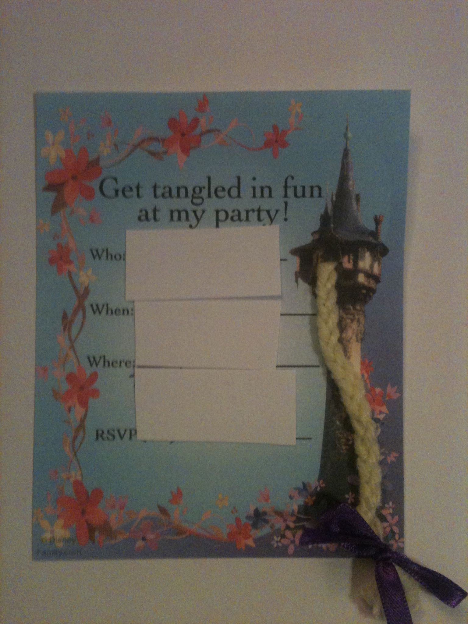 Tangled Tower with Braid Invitations....I printed out the invites from Disney and cut a slit to thread the braid through.