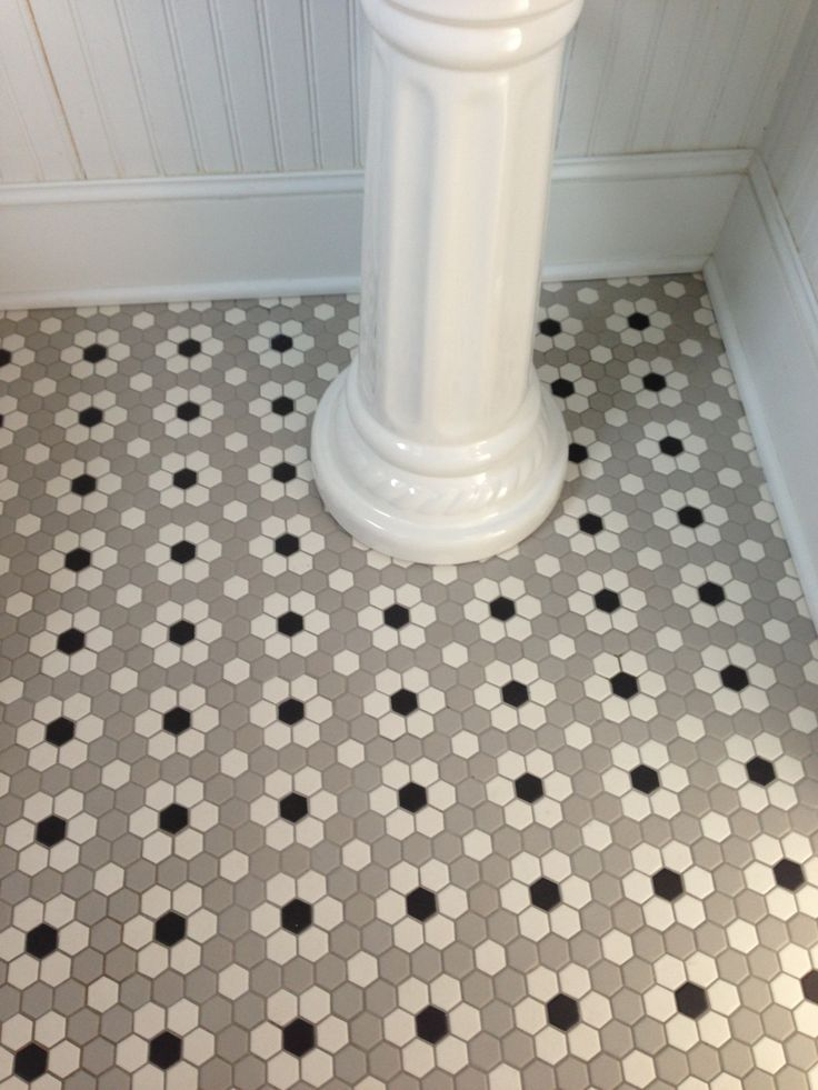 Floor tiles Ceramic Mosaic Hex Tile Photo of ceramic mosaic hex tile we  installed in our main floor half bath.