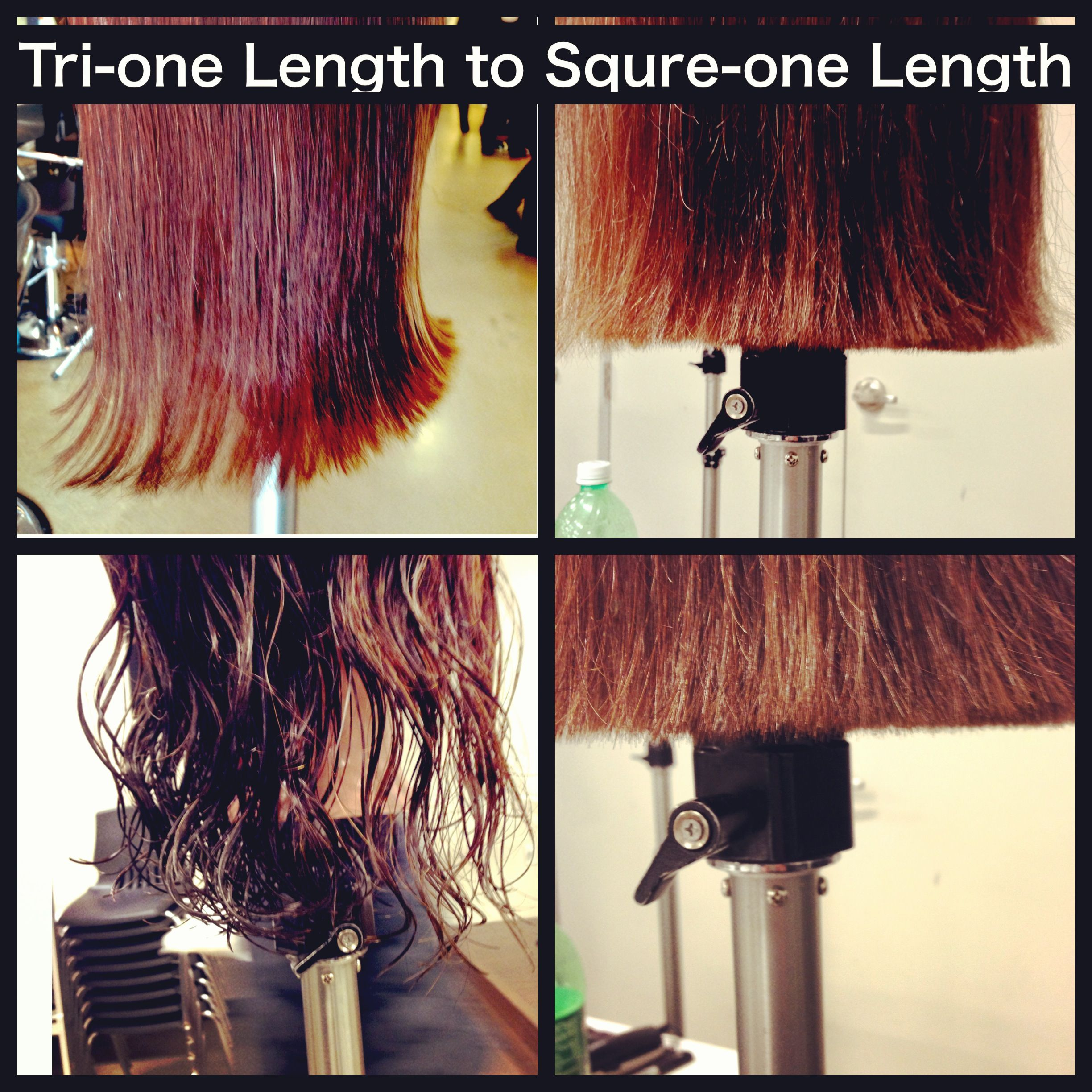 Triangular one length to a Square one length haircutting