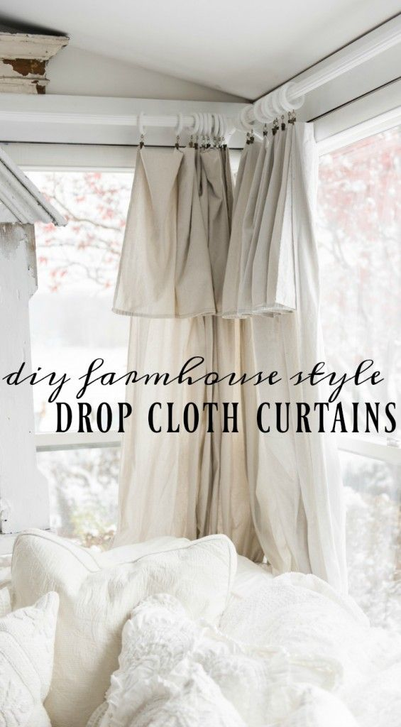 DIY Drop Cloth Curtains In The Sunroom - Diy farmhouse decor, Easy home decor, Diy curtains, Window treatments bedroom, Cottage style decor, Farm house living room - I did it again! I did something 'crazy' in the sunroom this weekend  I added some DIY curtains  I know this room is all about the view & up until now I was nervous to add curtains, but it was time to cozy up this space a little more because that's what I do  You see, in every other house we have owned I have always used DIY curtains made from drop cloths  I even blogged some last year in our last house if you want to see those  It's just something that I have always done  In this house