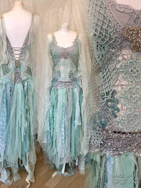 Boho wedding dress turqoise fairy,boho wedding dress in mint colors ...