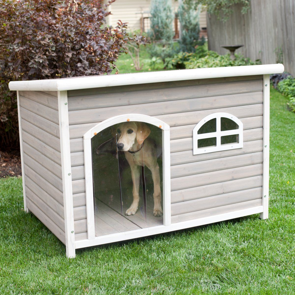 spotty xl insulated flat roof dog house with heater- tucker abode