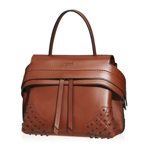 Tod's Wave Mini Bag in two-tone semi-glossy leather with stamped Tod's logo