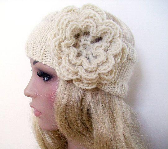 Knit Headband with Crochet Flower Pattern | Crochet Hats & Headbands ...