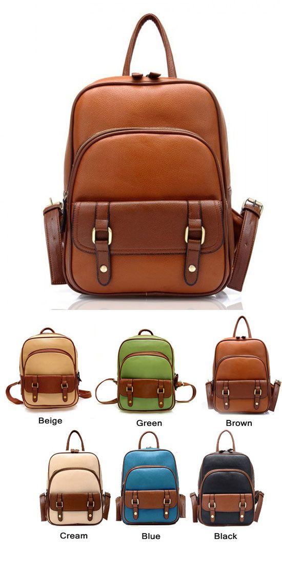 How nice a backpack ! Which color do you like? Retro College Style Backpacks #backpack #retro #college #bag #nice
