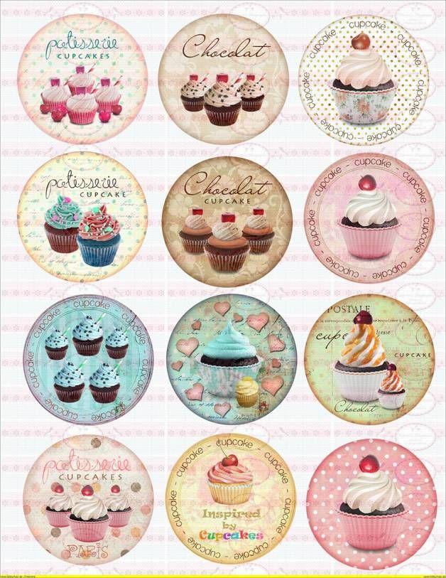 9 Bugelbilder Shabby Nostaligie Cupcake Din A4 Kreativ Schablonen Zum Ausdrucken Decoupage Papier