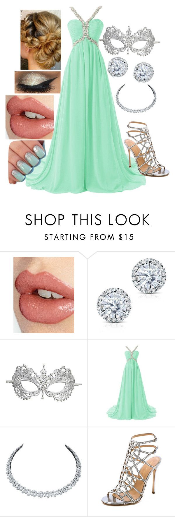 """Masquerade (#2)"" by loovemuffin ❤ liked on Polyvore featuring Charlotte Tilbury, Kobelli, Masquerade, Harry Winston, Sergio Rossi, cute, formal, mint and mask"