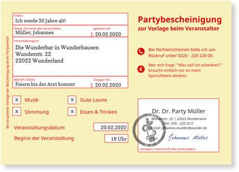 Perfekt Einladungskarten Geburtstag, Partybescheinigung
