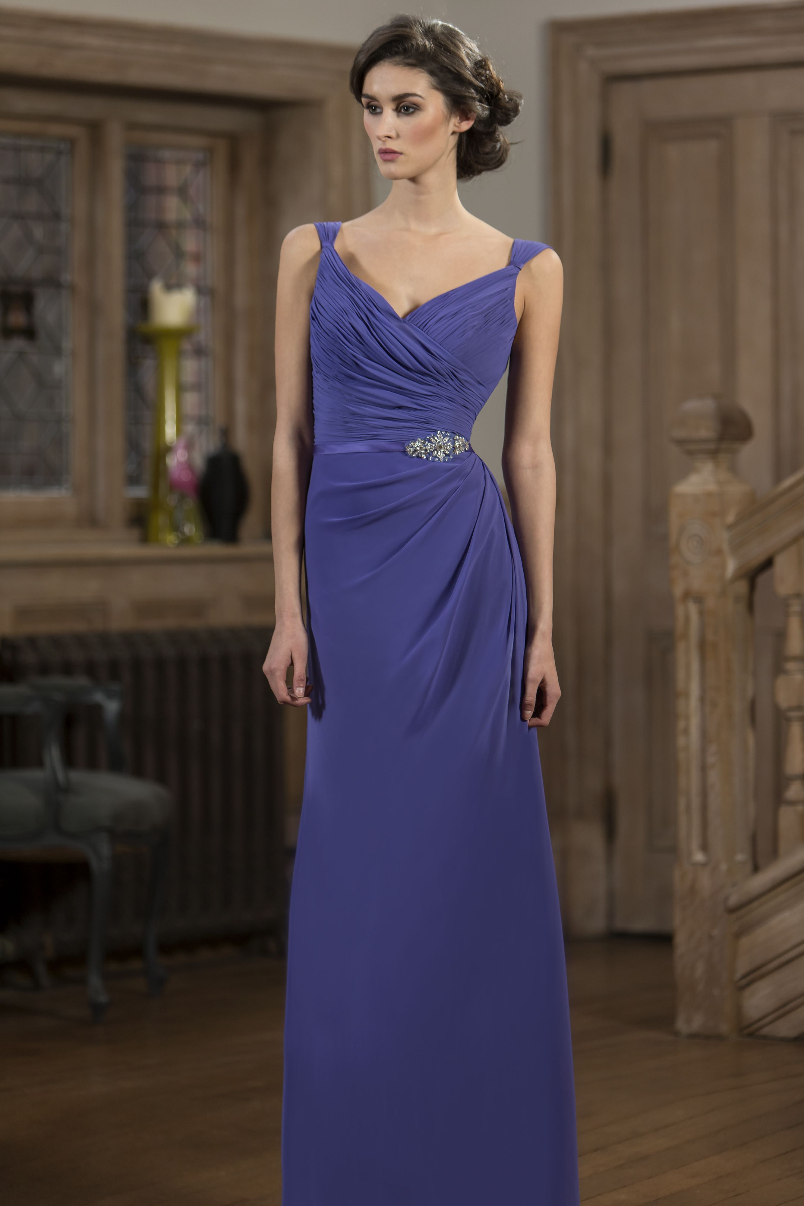 M578 - Slim fitting Chiffon bridesmaid dress with pleated bodice and ...