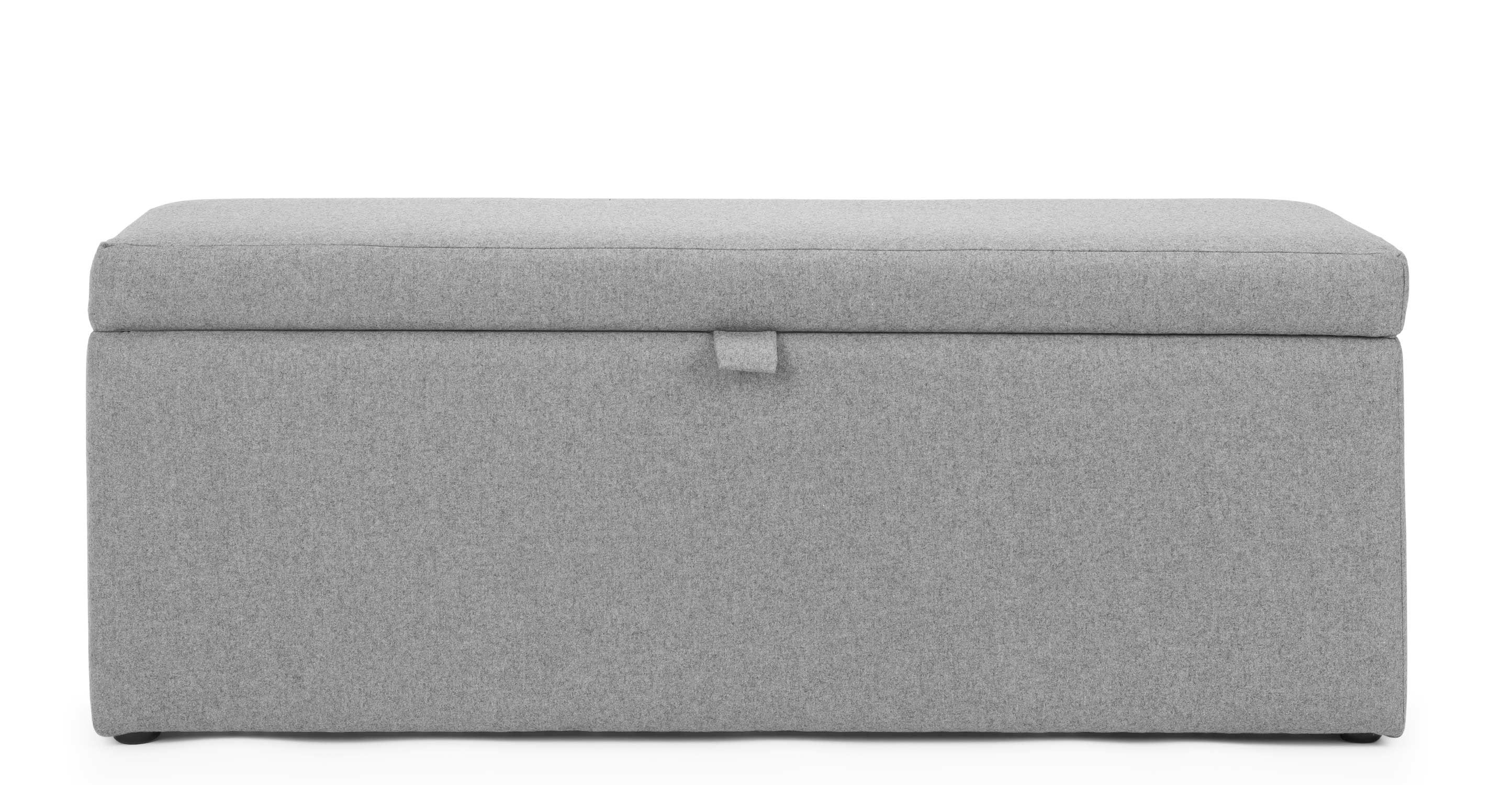 Bettsofa Schubiger Capri Upholstered Storage Bench Wolf Grey Wool Mix Designer