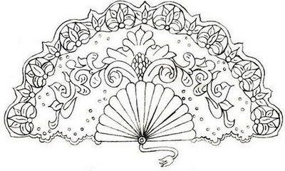 Abanico Pattern Abanico Dibujo Repujado Buhos Pintados