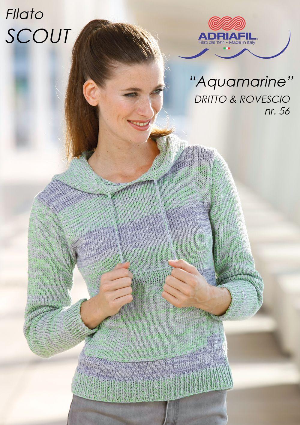 """""""Aquamarine"""" hoodie, Scout yarn Let's make the summer cool!  http://www.adriafil.com/uk/scheda-filato.html?id_cat=12&id_gr=3&id_filato=TK"""