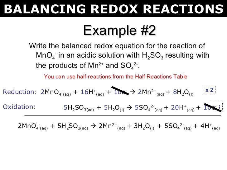 Tang 02 Balancing Redox Reactions 2 Redox Reactions Reactions Organic Reactions