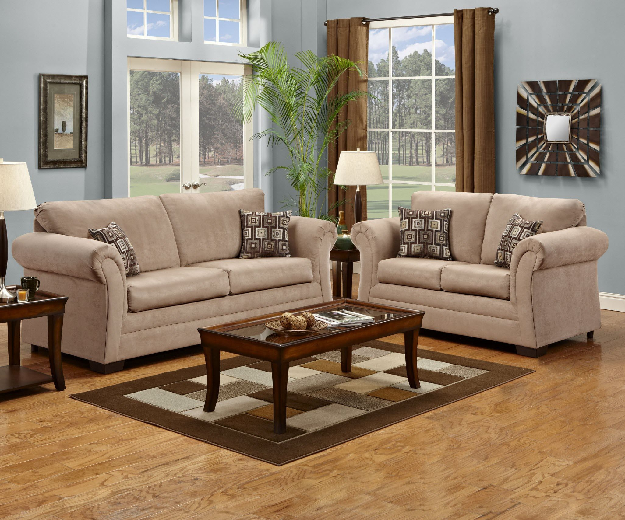 2255 Simmons Victory Lane Taupe Sofa and Loveseat