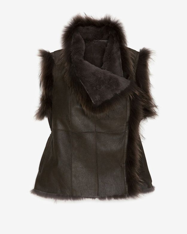 Yves Salomon EXCLUSIVE Shearling Vest: Olive