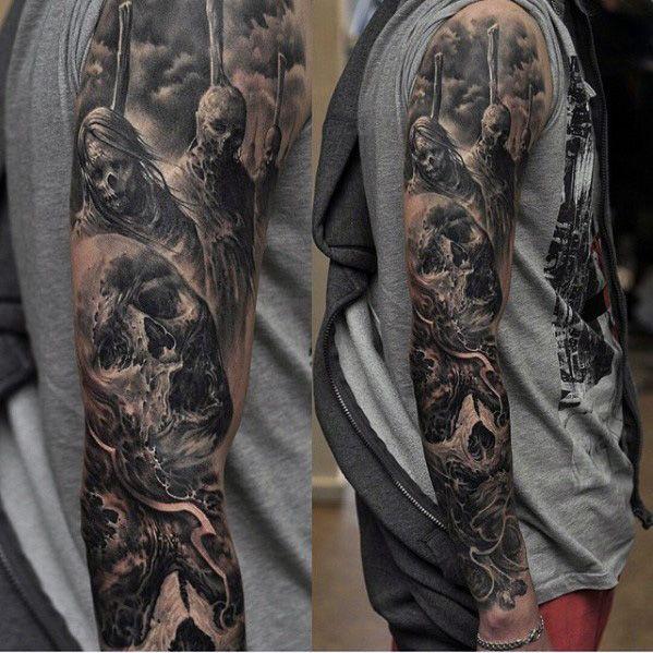 Top 107 Sleeve Tattoo Ideas 2020 Inspiration Guide Black And Grey Tattoos Sleeve Skull Sleeve Tattoos Sleeve Tattoos