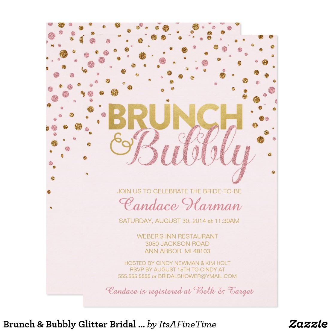 Brunch bubbly glitter bridal shower invitation bridal showers brunch bubbly glitter bridal shower invitation filmwisefo