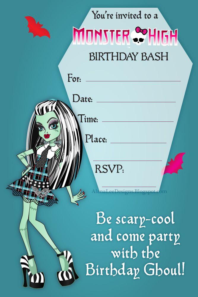 Free Birthday Invitations featuring Frankie Stein (aka Frankie - birthday invitations free download