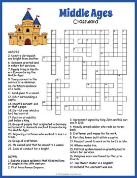Middle Ages Crossword Puzzle Worksheet Activity Middle Ages Activities Middle Ages Middle Ages Art