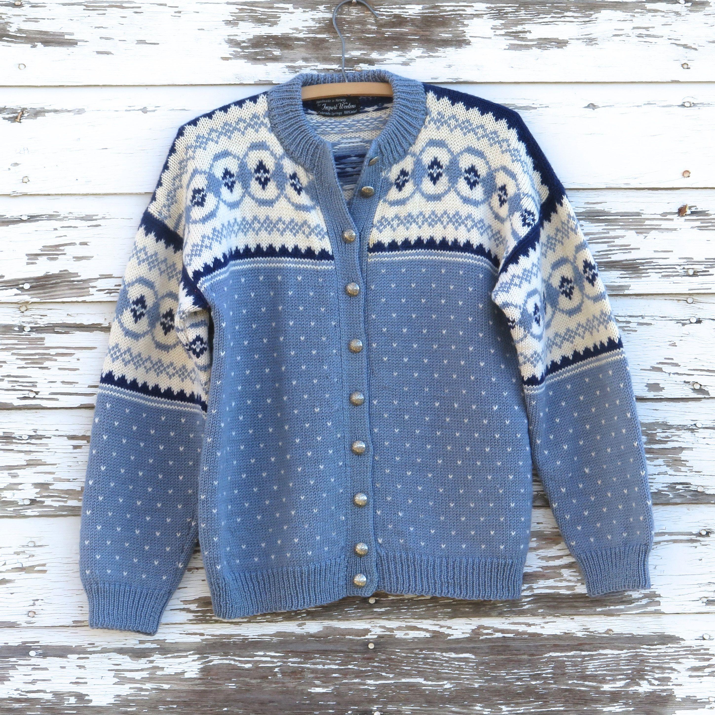 Blue Norwegian Nordic Sweater Scandinavian Cardigan Women S 100 Wool Handmade In Norway Handk Sweater Winter Fashion Cardigans For Women Hand Knitted Sweaters
