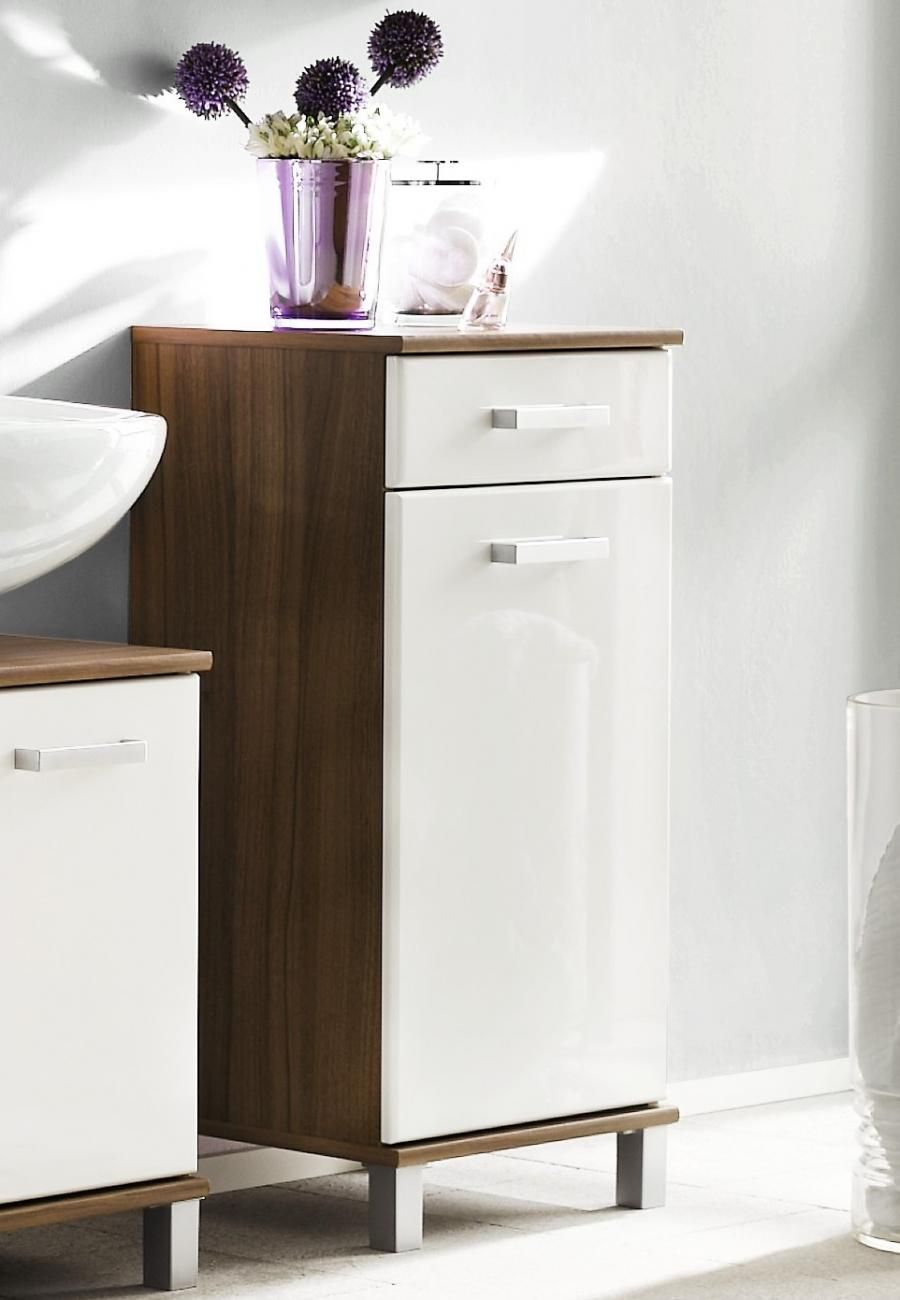 Stylish free standing bathroom cabinet finished in walnut with high ...