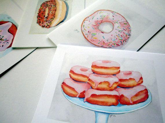 Donut Art Notecards, Cute Cards Breakfast Food Art - Set of Watercolor Art Cards, Set of 8