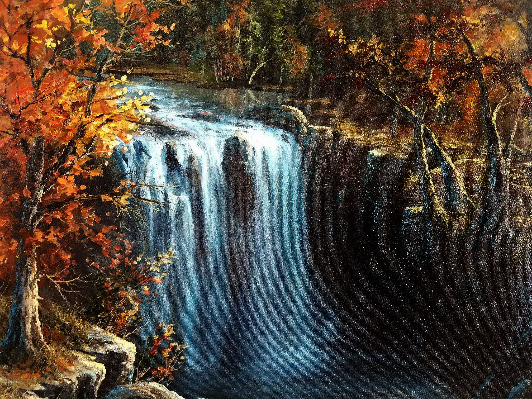 """Waterfall in Autumn"" Oil Painting by Kevin Hill Watch"
