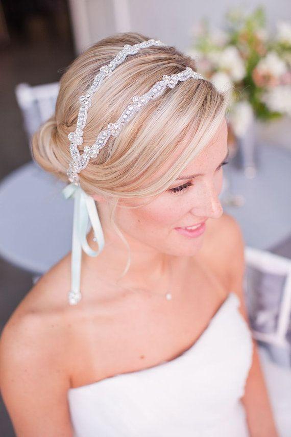 Pearl Double Rhinestone Strand Headpiece Wedding Beaded Bridal Headband Via Etsy
