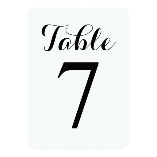 Modern Script Table 7 | Table Numbers Card