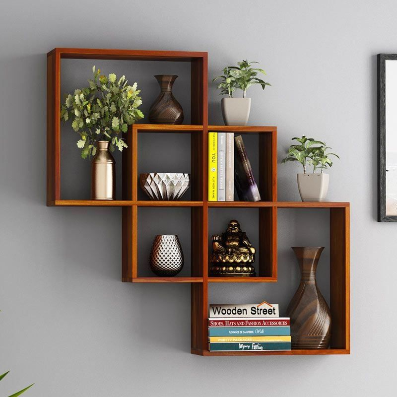 Buy Grizzo Wall Shelf Honey Finish Online In India Wooden Street 1000 In 2020 Wall Shelves Living Room Shelf Decor Living Room Wall Shelves Design