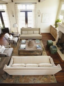 Furniture Placement 2 Couches 2 Chairs Large Coffee Table Low
