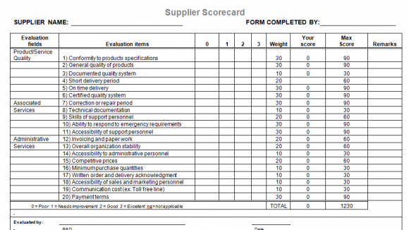 Supplier Evaluation Template for Microsoft Word – Vendor Evaluation