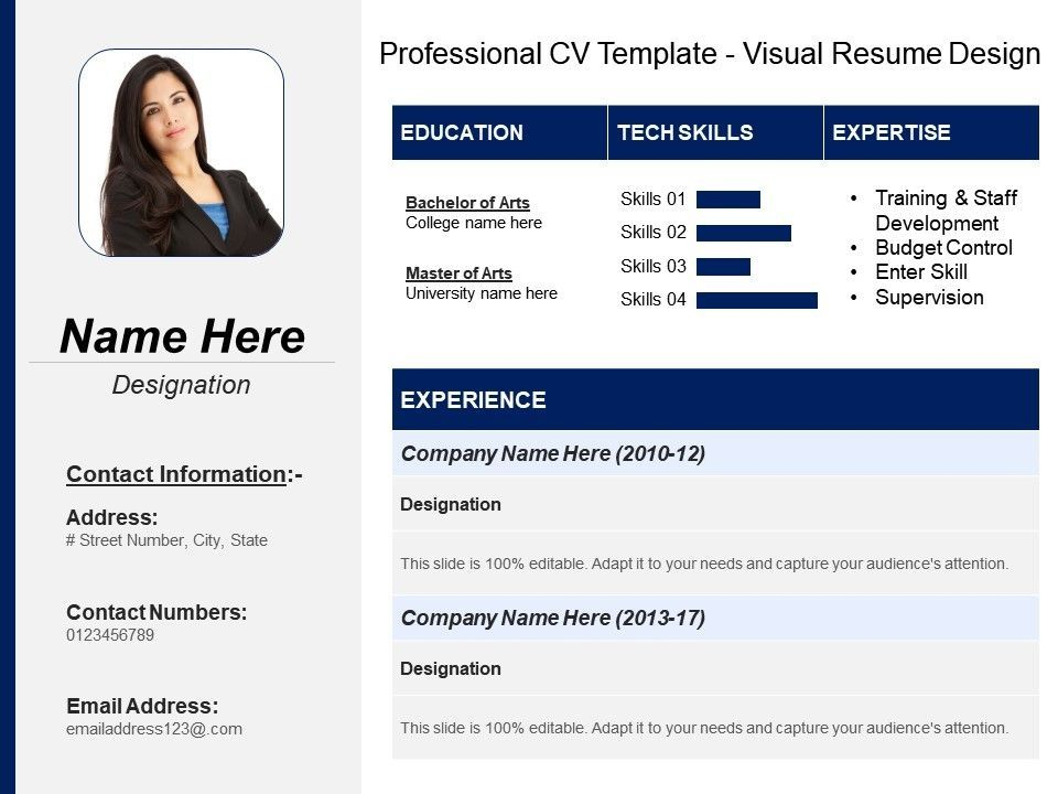 Professional Cv Template Visual Resume Design Powerpoint In 2020 Visual Resume Cv Template Professional Cv Template
