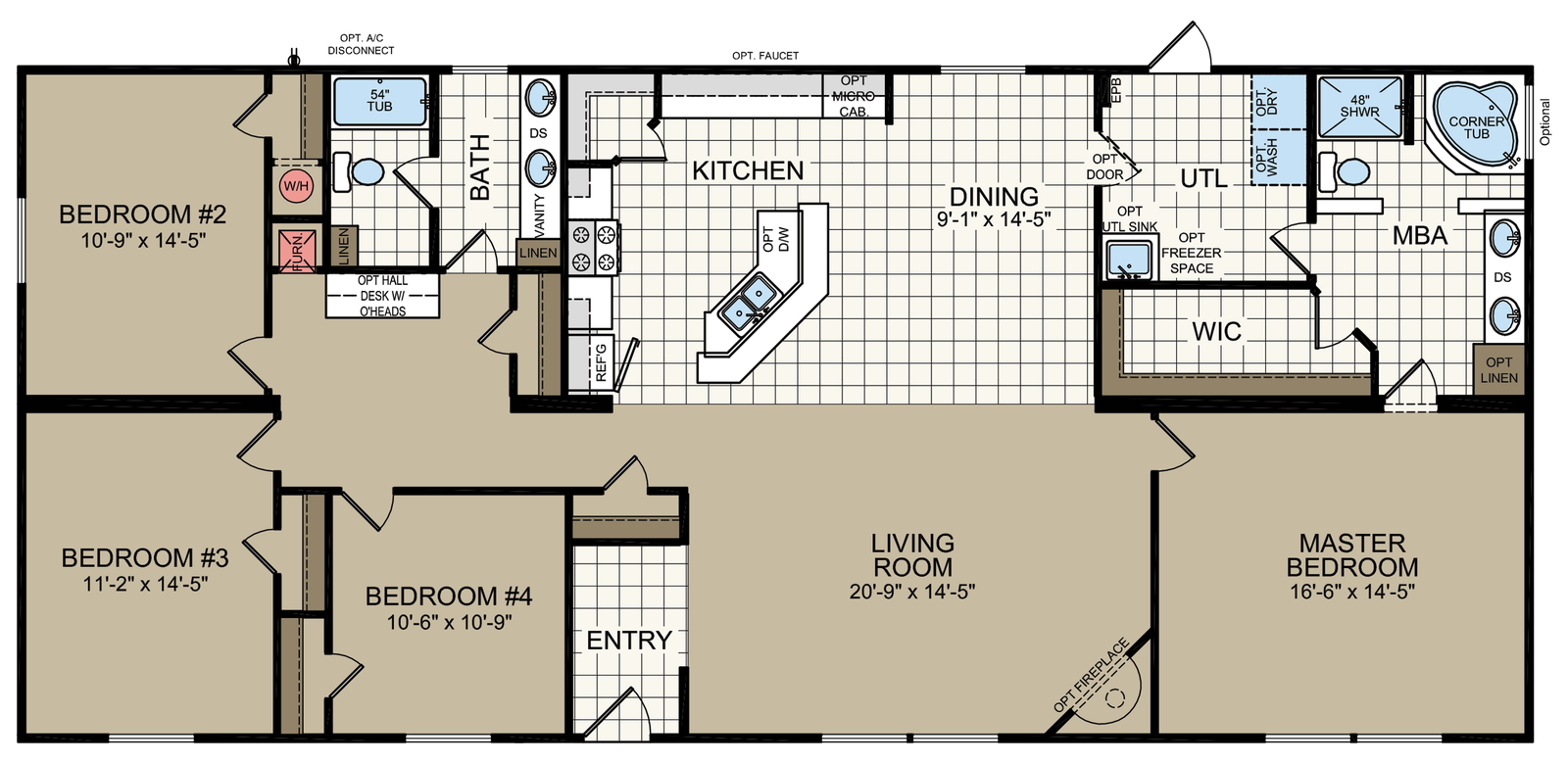 The Linwood Built By Titan Factory Direct In San Antonio Tx View The Floor Plan Of This 4 B Mobile Home Floor Plans Modular Home Floor Plans Double Wide Home