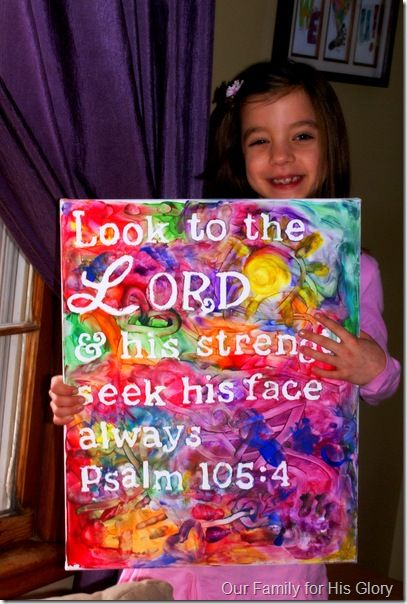 Love this idea for making Scripture art for the kids room.  Possible gifts for little friends?  Possible art project for when we finish the attributes of God.