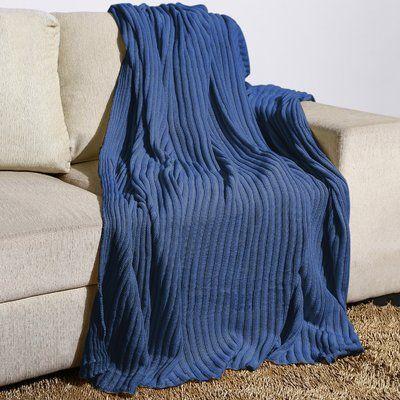 Alcott Hill Millwood Rib Knit Cotton Throw Color: Denim