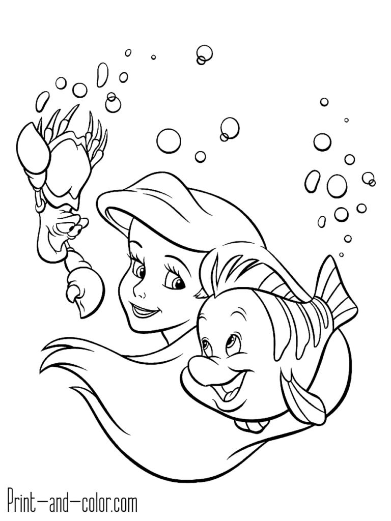Little Mermaid Coloring Template