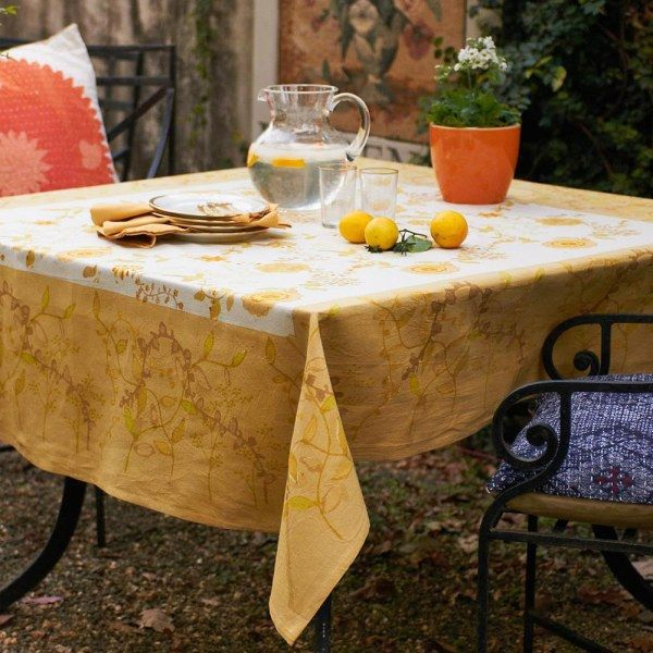 Treetop Yellow/Green Tablecloth French Linen Tablecloth By Bruno Lamy