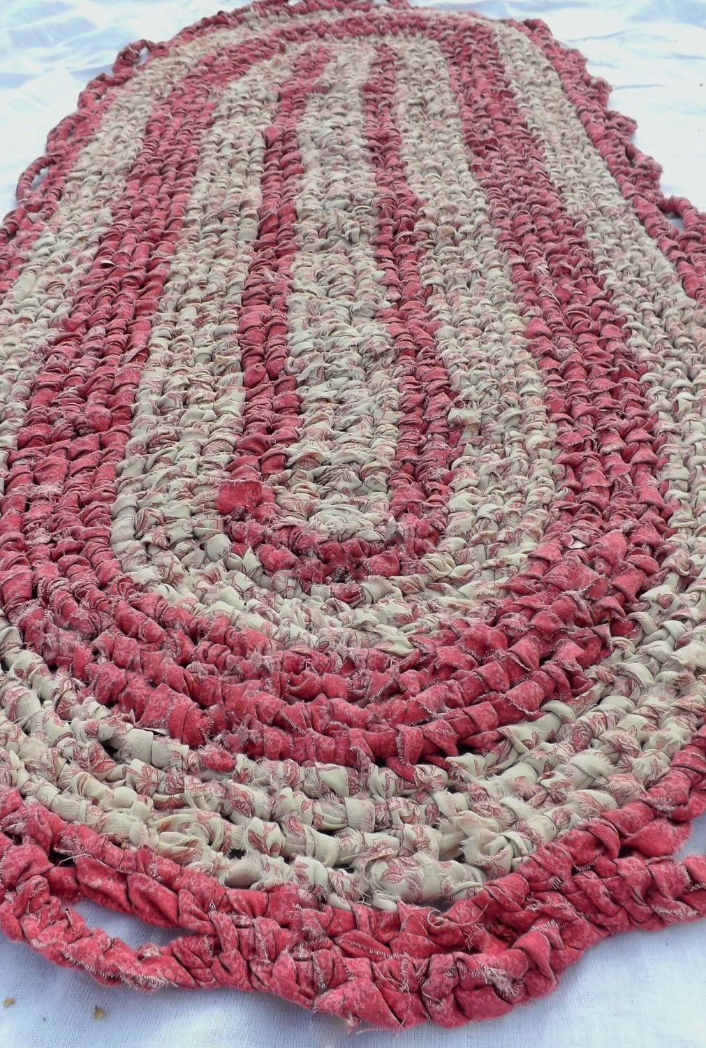 52 X22 Dusty Rose And Beige Large Knotted Rag Area Rug