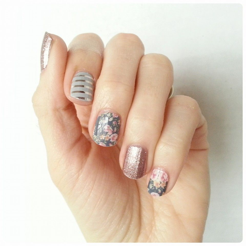 Gray and Silver Stripe, Dusty Floral, and Rose Gold Sparkle Jamberry ...