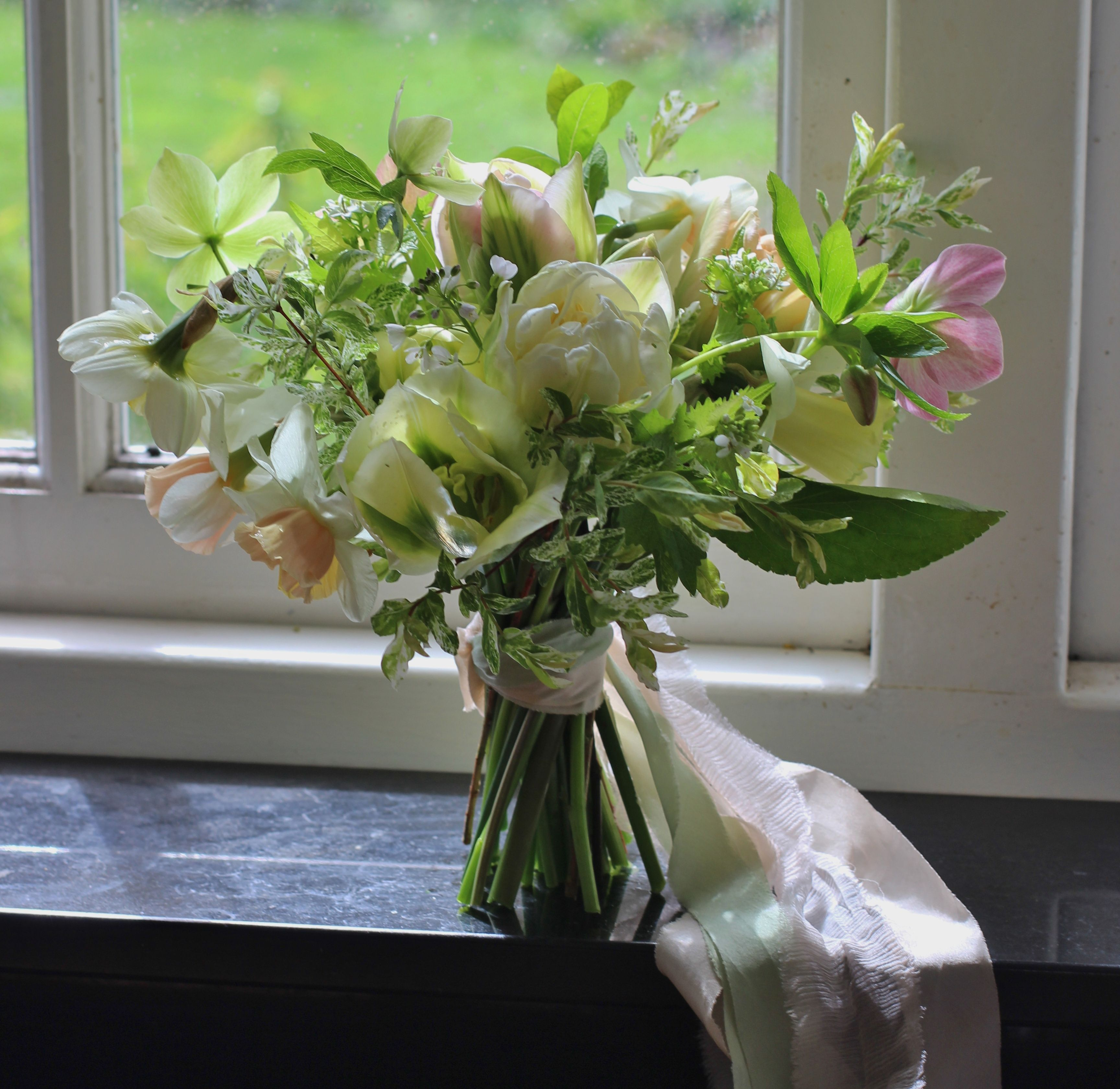 Lock Cottage Flowers Surrey UK Spring Bouquet With Tulip Daffodil Hellebore